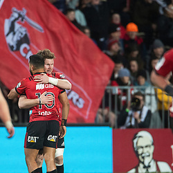 Crusaders celebrate a try during the 2018 Super Rugby final between the Crusaders and Lions at AMI Stadium in Christchurch, New Zealand on Sunday, 29 July 2018. Photo: Joe Johnson / lintottphoto.co.nz