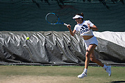 30 June 2018.  The Wimbledon Tennis Championships 2018 held at The All England Lawn Tennis and Croquet Club, London, England, UK.  <br /> <br /> Practice Saturday - Defending Ladies' Champion Garbine Muguruza practices on the Aorangi Practice Courts.