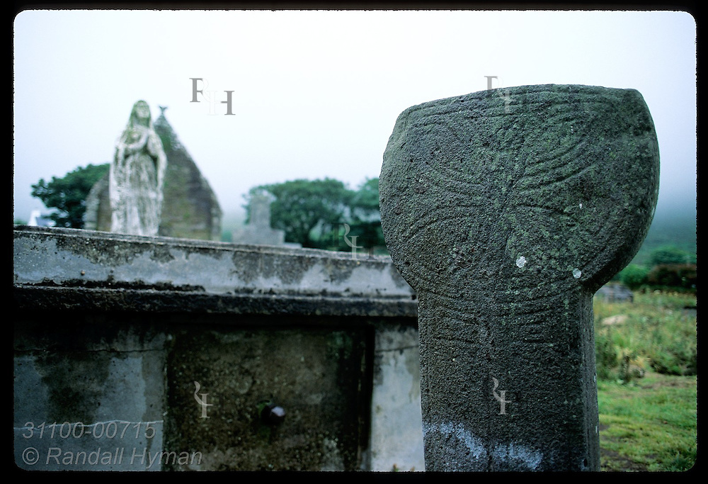 Sundial stands in cemetery outside Romanesque Kilmalkedar Church (12th-century); Dingle Peninsula Ireland