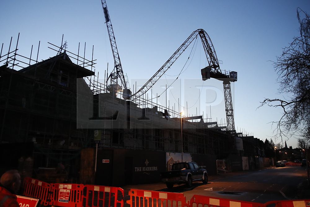 © Licensed to London News Pictures. 11/12/2019. London, UK. The scene where a crane has collapsed in high winds in Kingston, West London as large parts of the uk have been battered by strong winds and rain. Photo credit: Peter Macdiarmid/LNP