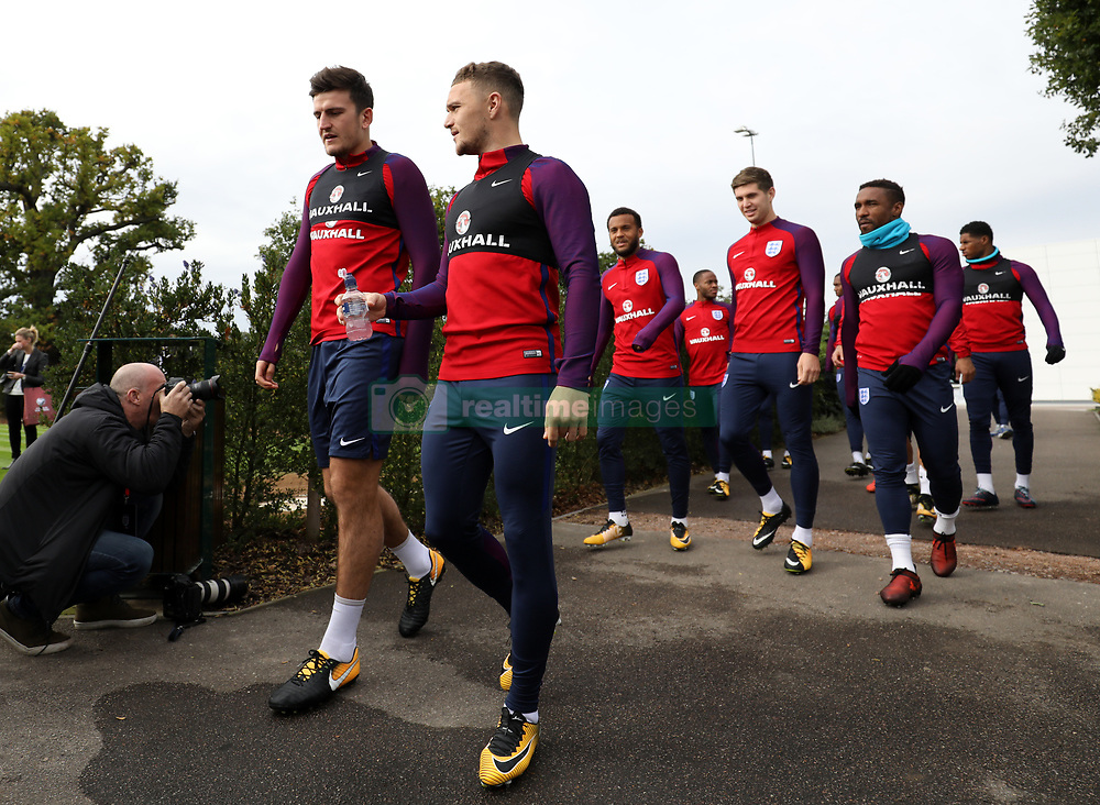 England's Harry Maguire (left) and Kieran Trippier during the training session at Enfield Training Centre, London.