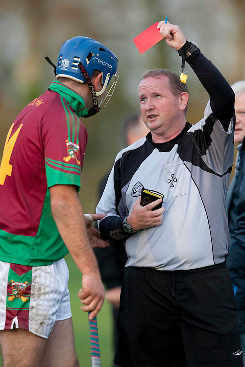 Kiltale vs Dunboyne, A HL Division 1 final at Sean Eiffe Park, Ratoath 31/10/09.Referee G. Keoghan shows the red card to Kiltale forward Paul Garvey after an incident in the second half..Photo: © David Mullen / quirke.ie