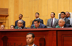 16.05.2015, Kairo, EGY, Mohamed Mursi Prozess, im Bild Ein Gericht in Kairo hat den ehemaligen ägyptischen Präsidenten Mohammed Mursi wegen Spionage heute zum Tode verurteilt. // Egyptian judge Shaban el-Shamy reads out the verdict sentencing former Egyptian President Mohamed Mursi and other Muslim Brotherhood members at a court in the outskirts of Cairo, Egypt May 16, 2015. An Egyptian court on Saturday sought the death penalty for former president Mohamed Mursi and more than 100 other members of the Muslim Brotherhood in connection with a mass jail break in 2011. Photo by Stringer, Egypt on 2015/05/16. EXPA Pictures © 2015, PhotoCredit: EXPA/ APAimages/ Stringer<br /> <br /> *****ATTENTION - for AUT, GER, SUI, ITA, POL, CRO, SRB only*****