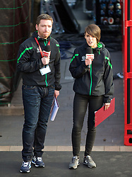 LIVERPOOL, ENGLAND - Thursday, April 10, 2014: Presenter Peter McDowell and Claire Rourke on stage at the launch of the new Liverpool FC Warrior home kit for 2014/2015 at the Liverpool One shopping centre. (Pic by David Rawcliffe/Propaganda)