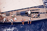 Kate sailing in the Butterfly Race at the 2011 Antigua Classic Yacht Regatta.