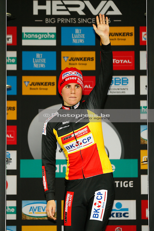 BELGIUM / ASPER - GAVERE / CYCLING / WIELRENNEN / CYCLISME / CYCLOCROSS / CYCLO-CROSS / VELDRIJDEN / HANSGROHE SUPERPRESTIGE CYCLOCROSS / #4 / WOMEN / PODIUM / SANNE CANT (BEL) – ENERTHERM-BKCP /