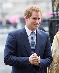 LONDON- UK- 03- MAR-2014: Britain's Prince Harry represents The Queen at a National Service of Thanksgiving to celebrate the life of Nelson Mandela, former President of the Republic of South Africa. Westminster Abbey, London.<br /> Photograph by Ian Jones