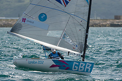 2012 Olympic Games London / Weymouth<br /> Finn Medal Race<br /> Ainslie Ben, (GBR, Finn) crossing the finishing line and winning the gold medal