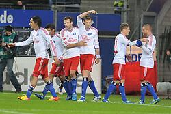 04.12.2011, Imtech Arena, Hamburg, GER, 1. FBL, Hamburger SV (GER) vs 1. FC Nuernberg (GER), im Bild Marcell Jansen (Hamburg #07) schiesst das 2-0 fuer Hamburg vorbei an Torhueter Raphael Schaefer (Schäfer Nuernberg #01) und jubelt mit der Mannschaft // during match at Imtech Arena 2011/12/04,HamburgEXPA Pictures © 2011, PhotoCredit: EXPA/ nph/ Witke..***** ATTENTION - OUT OF GER, CRO *****