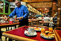 Cafe or Confiteria with typical Medias Lunas and Cafe, Buenos Aires, Argentina Image by Andres Morya