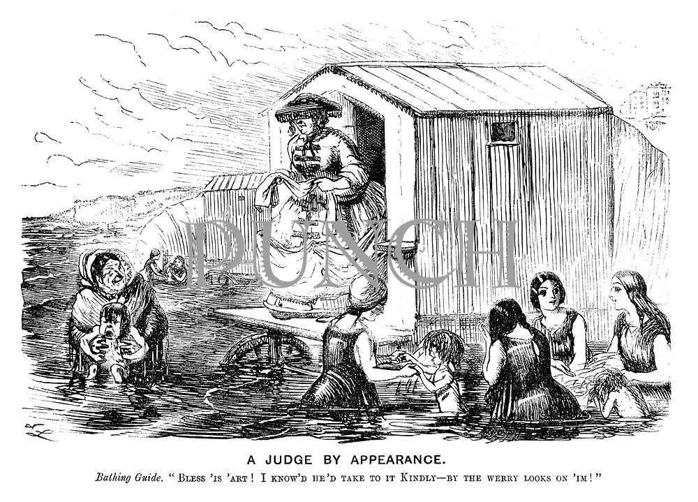 "A Judge by Appearance. Bathing guide. ""Bless 'is 'art! I know'd he'd take to it kindly - by the werry looks on 'Im!"""
