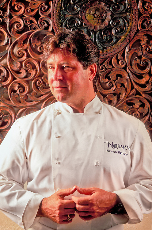 "Celebrity chef, ""New World Cuisine"" guru, and cookbook author Norman Van Aken photographed in his reastaurant, Norman's, in Miami's Coral Gables"