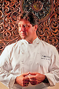 """Celebrity chef, """"New World Cuisine"""" guru, and cookbook author Norman Van Aken photographed in his reastaurant, Norman's, in Miami's Coral Gables"""