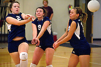 Alexia Young, right, and Emily Verhaeghe react to a mishit by Millie Schnebly as all three of the Coeur d'Alene Charter Academy players positioned themselves for the play on the ball during Tuesday's game against Lakeside High.