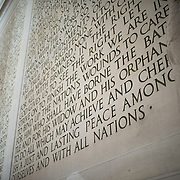 Part of the text of Lincoln's Second Inaugural Address that is etched into the northern wall of the Lincoln Memorial in Washington DC.