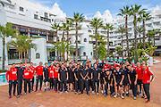 ESTEPONA - 08-01-2016, AZ in Spanje 8 januari, AZ trainer John van den Brom, AZ speler Mounir El Hamdaoui, AZ speler Ron Vlaar, AZ speler Markus Henriksen, teamfoto