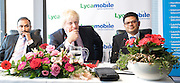 Boris Johnson <br /> Mayor of London <br /> visits Lycamobile Global HQ in Docklands, London, Great Britain <br /> 21st July 2011 <br /> <br /> <br /> Subaskaram Allirajah (Group Chairman)<br /> <br /> Boris Johnson <br /> London Mayor<br /> <br /> Milind Kangle (Group CEO)<br /> <br /> <br /> <br /> Photograph by Elliott Franks