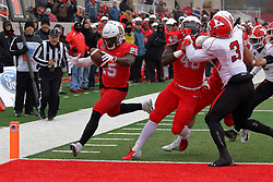 NORMAL, IL - November 17: Timothy McCloyn II holds off Cash Mitchell allowing James Robinson to make the endzone early in the 3rd quarter during a college football game between the ISU (Illinois State University) Redbirds and the Youngstown State Penguins on November 17 2018 at Hancock Stadium in Normal, IL. (Photo by Alan Look)