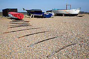 Fishing boats on shingle beach Dunwich, Suffolk