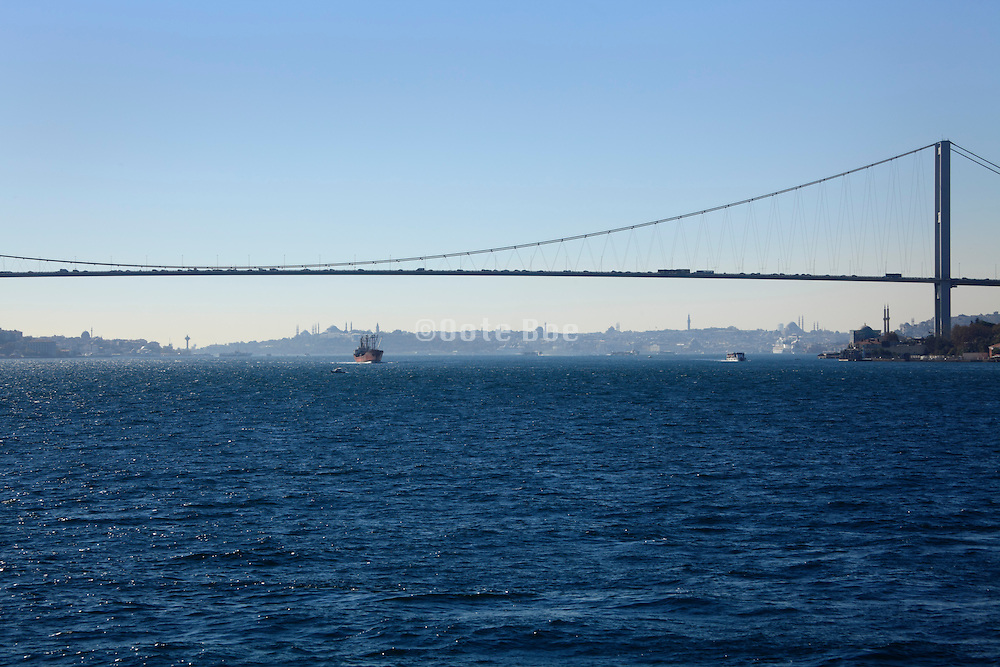 The first Bosphorus bridge with the old city Eminonu Istanbul in the background