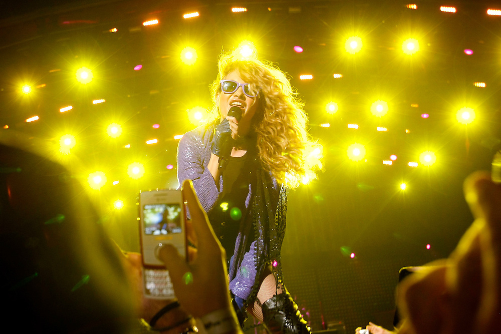 Mexican sensation Paulina Rubio performs for a full crowd during Super Bowl weekend on South Beach in Miami, Florida on Friday, January 5, 2010. Also sharing the stage was rapper Pitbull and Nelly Furtado.