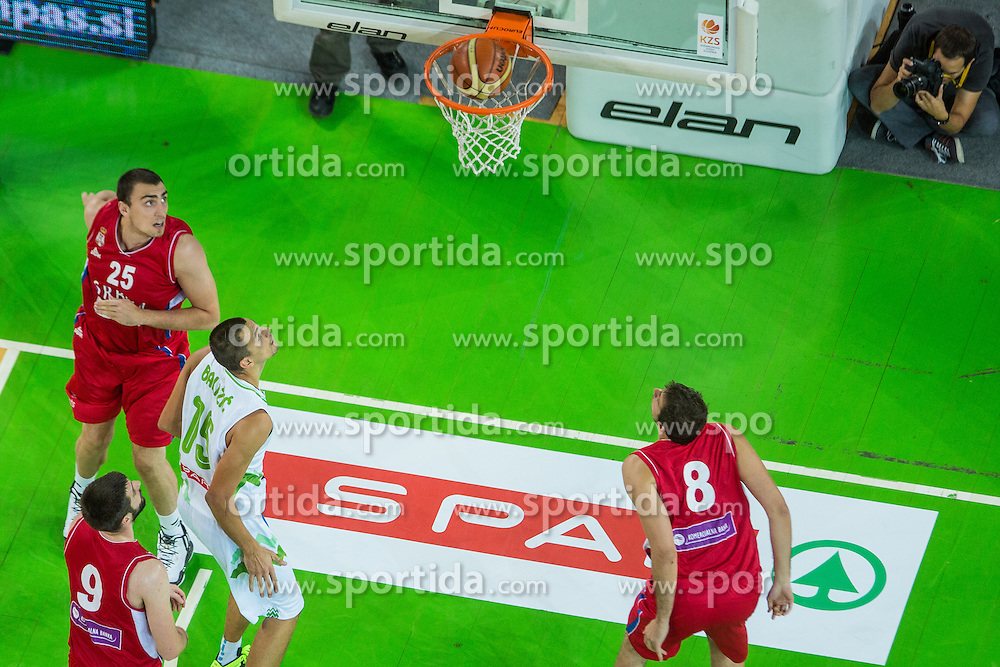 Jure Balazic of Slovenia vs Nemanja Bjelica, Stefan Markovic & Nikola Milutinov of Serbia during friendly basketball match between National teams of Slovenia and Serbia in arena Stozice, on August 23 in Ljubljana, Slovenia. Photo by Grega Valancic / Sportida August 27, 2015