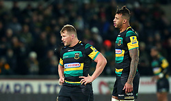 Dylan Hartley of Northampton Saints and Courtney Lawes of Northampton Saints - Mandatory by-line: Robbie Stephenson/JMP - 01/12/2017 - RUGBY - Franklin's Gardens - Northampton, England - Northampton Saints v Newcastle Falcons - Aviva Premiership