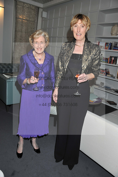 Left to right, PHYLLIS CUNNINGHAM winner of the 1992 Veuve Clicquot Business Woman Award and PATRICIA VAZ winner of the 1995 Veuve Clicquot Business Woman Award attending the Veuve Clicquot Business Woman Previous Winners Dinner held at Grace, 11c West Halkin Street, London on 16th April 2013.