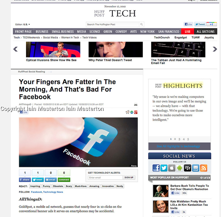 Huffington Post; Facebook app close-up