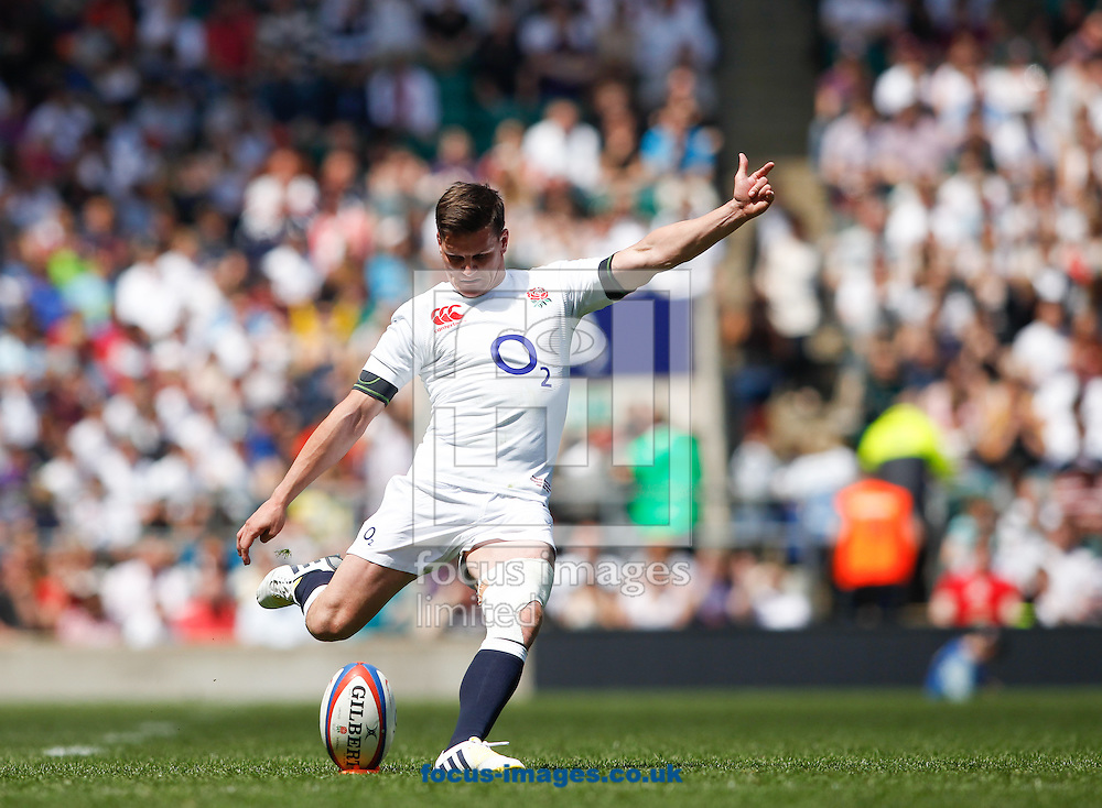 Picture by Andrew Tobin/Focus Images Ltd +44 7710 761829.26/05/2013.Freddie Burns of England kicks to covert his own try during the match between England and the Barbarians at Twickenham Stadium, Twickenham.