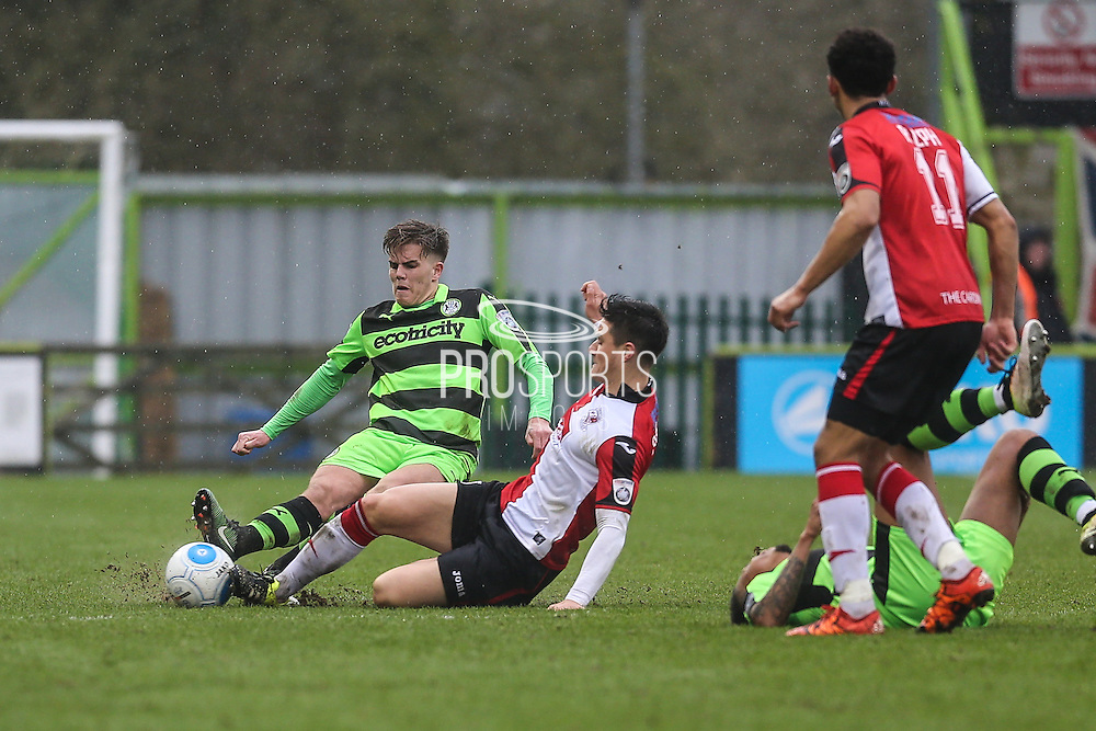 Forest Green Rovers Charlie Cooper(20) goes in for a tackle during the Vanarama National League match between Forest Green Rovers and Woking at the New Lawn, Forest Green, United Kingdom on 25 February 2017. Photo by Shane Healey.
