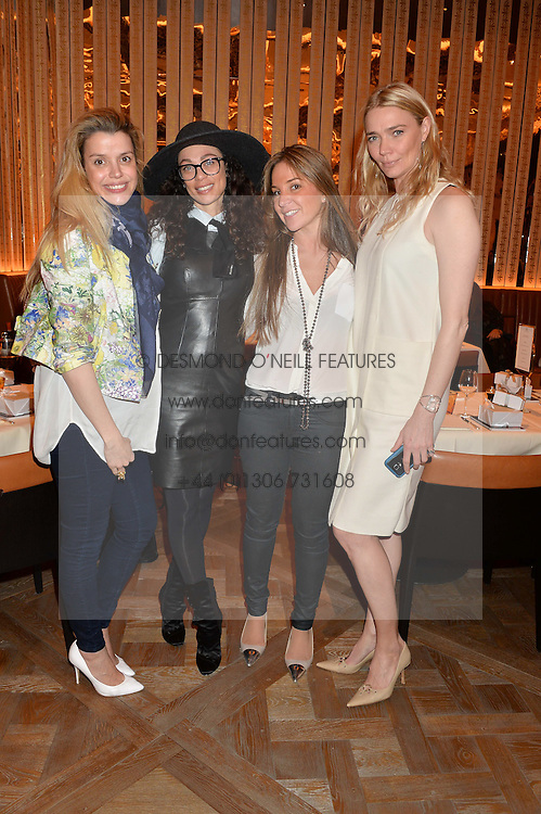 Left to right, SABINE ROEMER, LILLY BECKER, NATHALIE DAURIAC and JODIE KIDD at the Cash & Rocket Tour Announcement Launch Lunch in association with McArthur Glen was held at The Grill, The Dorchester, Park Lane, London on 12th March 2015.