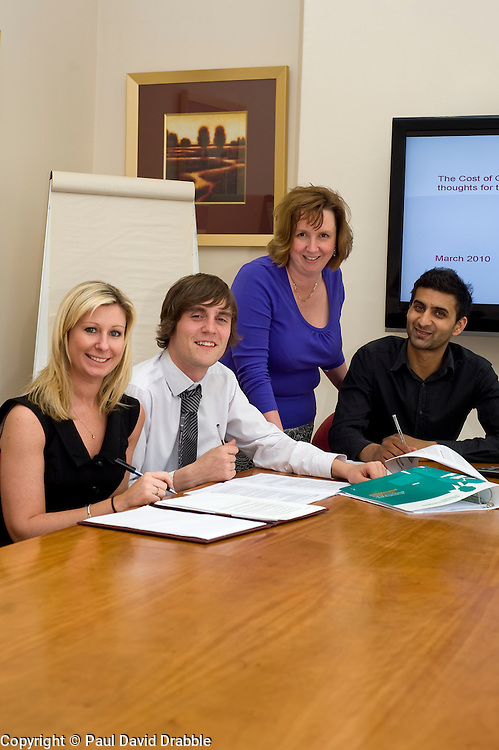 Oval Insurance Case Stiudy - Joanne Gilray Managing Directors Personal Assitant, Neil Bromley and Jaspreet Kandola New Business Executives and Regional Training And Development Officer Tina Winterburn...27 April 2010. Images © Paul David Drabble.