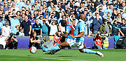 Yannick Bolasie goes close with a low effort for Palace during the Barclays Premier League match between Crystal Palace and Manchester City at Selhurst Park, London, England on 12 September 2015. Photo by Michael Hulf.