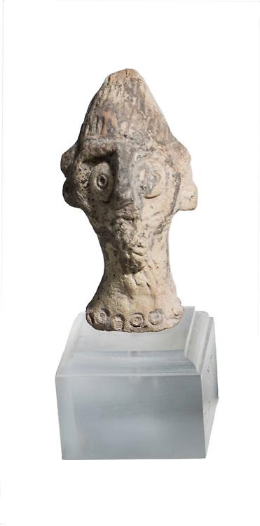 A Syro-Hittite terra-cotta figurine head 2nd millennium BC 7.1 cm high