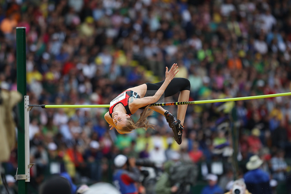 Rebecca Christensen competes in the finals for the high jump during day 9 of the U.S. Olympic Trials for Track & Field at Hayward Field in Eugene, Oregon, USA 30 Jun 2012..(Jed Jacobsohn/for The New York Times)....