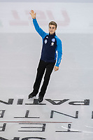 KELOWNA, BC - OCTOBER 26: Italian figure skater Matteo Rizzo is introduced during the men's long program / free skate of Skate Canada International held at Prospera Place on October 26, 2019 in Kelowna, Canada. (Photo by Marissa Baecker/Shoot the Breeze)