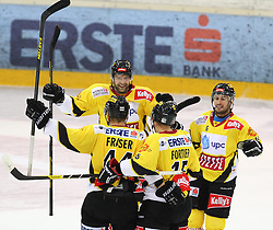 15.01.2013, Albert Schultz Eishalle, Wien, AUT, EBEL, UPC Vienna Capitals vs EHC Liwest Linz, 42. Runde, im Bild Torjubel cJamie Fraser, (UPC Vienna Capitals, #44),cZdenek Blatny, (UPC Vienna Capitals, #13),Fransois Fortier, (UPC Vienna Capitals, #15) und Rafael Rotter, (UPC Vienna Capitals, #6) // during the Erste Bank Icehockey League 42nd Round match betweeen UPC Vienna Capitals and EHC Liwest Linz at the Albert Schultz Ice Arena, Vienna, Austria on 2013/01/15. EXPA Pictures © 2013, PhotoCredit: EXPA/ Thomas Haumer