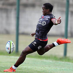Inny Radebe of the Cell C Sharks during The Cell C Sharks Pre Season warm up game 1,The Cell C Sharks B and the Toyota Cheetahs B,at King Zwelithini Stadium, Umlazi, Durban, South Africa. Friday, 3rd February 2017 (Photo by Steve Haag)
