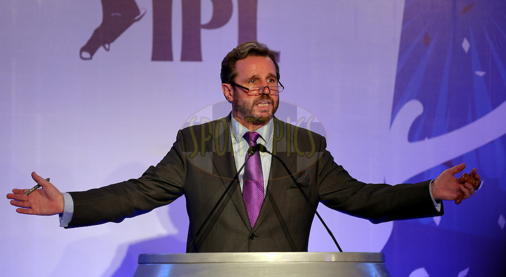 Richard Madley the Auctionier during the Pepsi IPL Player Auction held at the ITC Gardenia in Bengaluru, India on the 13th February 2014<br /> <br /> Photo by Sandeep Shetty/BCCI/SPORTZPICS