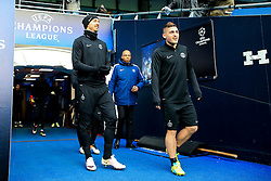 Zlatan Ibrahimovic of PSG walks out to train with Marco Verratti  - Mandatory byline: Matt McNulty/JMP - 07966386802 - 11/04/2016 - FOOTBALL - Manchester City v PSG - Etihad Stadium -Manchester,England - UEFA Champions League