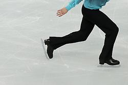 The XXII Winter Olympic Games 2014 in Sotchi, Olympics, Olympische Winterspiele Sotschi 2014<br /> Figure skating men short program in the Sochi 2014 Winter Olympics on February 6, 2014 in Sochi, Russia<br /> Close up, skatining shoes, Schlittschuh, Schlittschuhe, Schlittschuhlaeufer, Eislaufen, Schlittschuhlaufen,