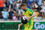 Wicket - David Warner of Australia looks dejected as he walks back to the pavilion after being dismissed by Chris Woakes of England during the ICC Cricket World Cup 2019 semi final match between Australia and England at Edgbaston, Birmingham, United Kingdom on 11 July 2019.