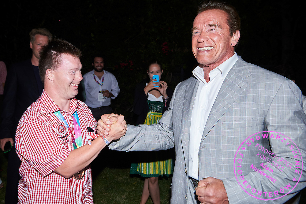 (R) Arnold Schwarzenegger Special Olympics Austria Honorary President and (L) Alexander Radin SO Austria athlete pose to picture while Austria 2017 Reception during third day of the Special Olympics World Games Los Angeles 2015 on July 27, 2015 in Los Angeles, USA.<br /> USA, Los Angeles, July 27, 2015<br /> <br /> Picture also available in RAW (NEF) or TIFF format on special request.<br /> <br /> For editorial use only. Any commercial or promotional use requires permission.<br /> <br /> Adam Nurkiewicz declares that he has no rights to the image of people at the photographs of his authorship.<br /> <br /> Mandatory credit:<br /> Photo by &copy; Adam Nurkiewicz / Mediasport