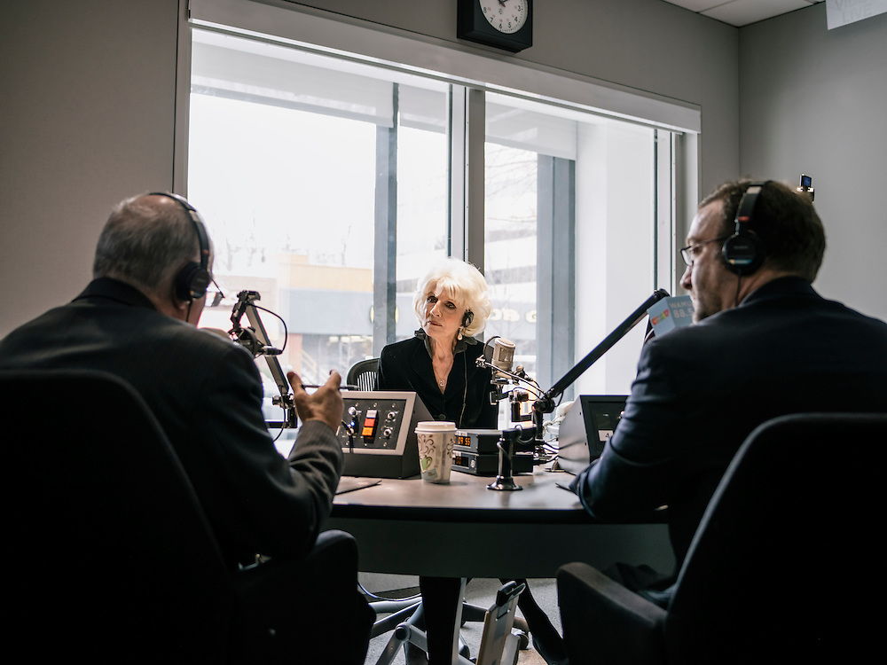 Diane Rehm, of the Diane Rehm show on NPR, hosts from her recording studio at WAMU in Washington, D.C. on Feb. 5, 2015.
