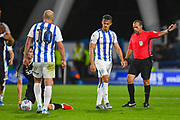 Jonathan Hogg of Huddersfield Town (6) reacts during the EFL Sky Bet Championship match between Huddersfield Town and Derby County at the John Smiths Stadium, Huddersfield, England on 5 August 2019.