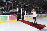 KELOWNA, CANADA, OCTOBER 5: Rachel Pavlakovic sings the national anthem at the Tri City Americans v Kelowna Rockets game  on October 5, 2011 at Prospera Place in Kelowna, British Columbia, Canada (Photo by Marissa Baecker/shootthebreeze.ca) *** Local Caption *** Rachel Pavlakovic;