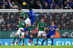 Shane Duffy of Brighton and Hove Albion heads the ball over the bar - Mandatory by-line: Robbie Stephenson/JMP - 26/02/2019 - FOOTBALL - King Power Stadium - Leicester, England - Leicester City v Brighton and Hove Albion - Premier League