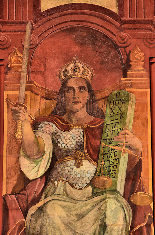 Rathaus Roman Goddess Justitia Fresco in Basel, Switzerland <br />