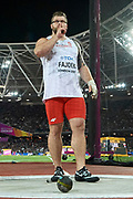 Great Britain, London - 2017 August 11: Pawel Fajdek (Agros Zamosc) of Poland celebrates his gold medal in men&rsquo;s hammer throw final during IAAF World Championships London 2017 Day 8 at London Stadium on August 11, 2017 in London, Great Britain.<br /> <br /> Mandatory credit:<br /> Photo by &copy; Adam Nurkiewicz<br /> <br /> Adam Nurkiewicz declares that he has no rights to the image of people at the photographs of his authorship.<br /> <br /> Picture also available in RAW (NEF) or TIFF format on special request.<br /> <br /> Any editorial, commercial or promotional use requires written permission from the author of image.